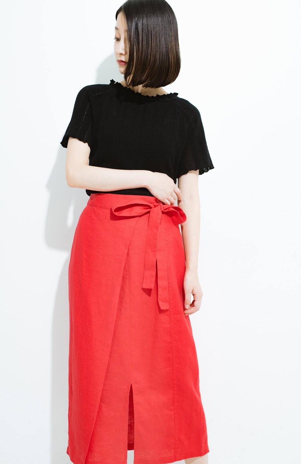 haco! 縦ラインですっきり見える 麻100%のタイトスカート <ピンク>の商品写真12