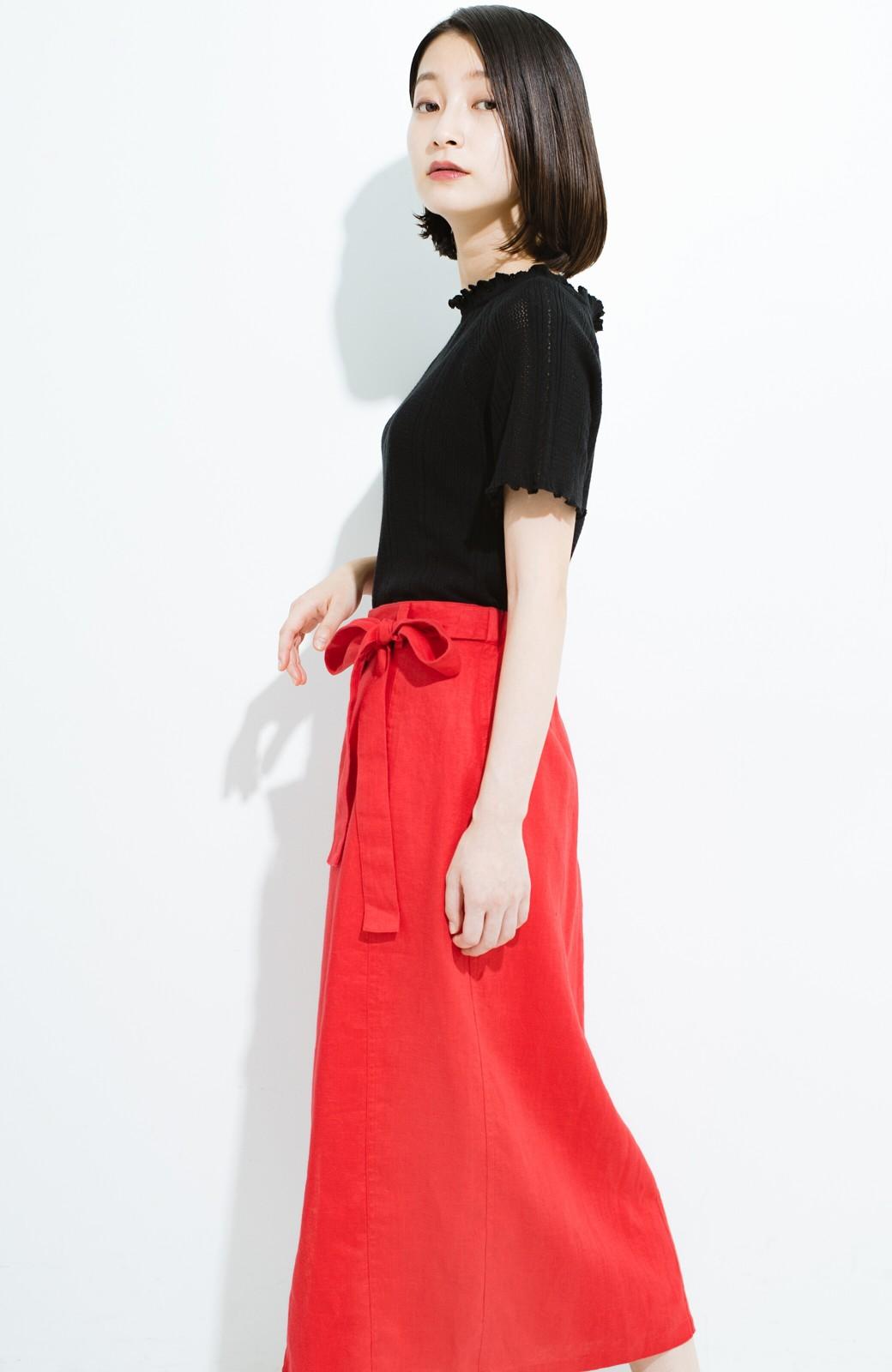 haco! 縦ラインですっきり見える 麻100%のタイトスカート <ピンク>の商品写真13