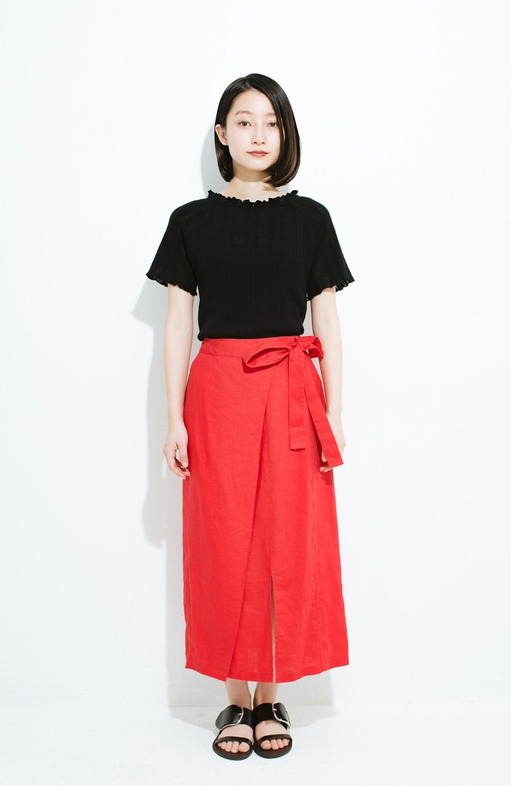 haco! 縦ラインですっきり見える 麻100%のタイトスカート <ピンク>の商品写真8