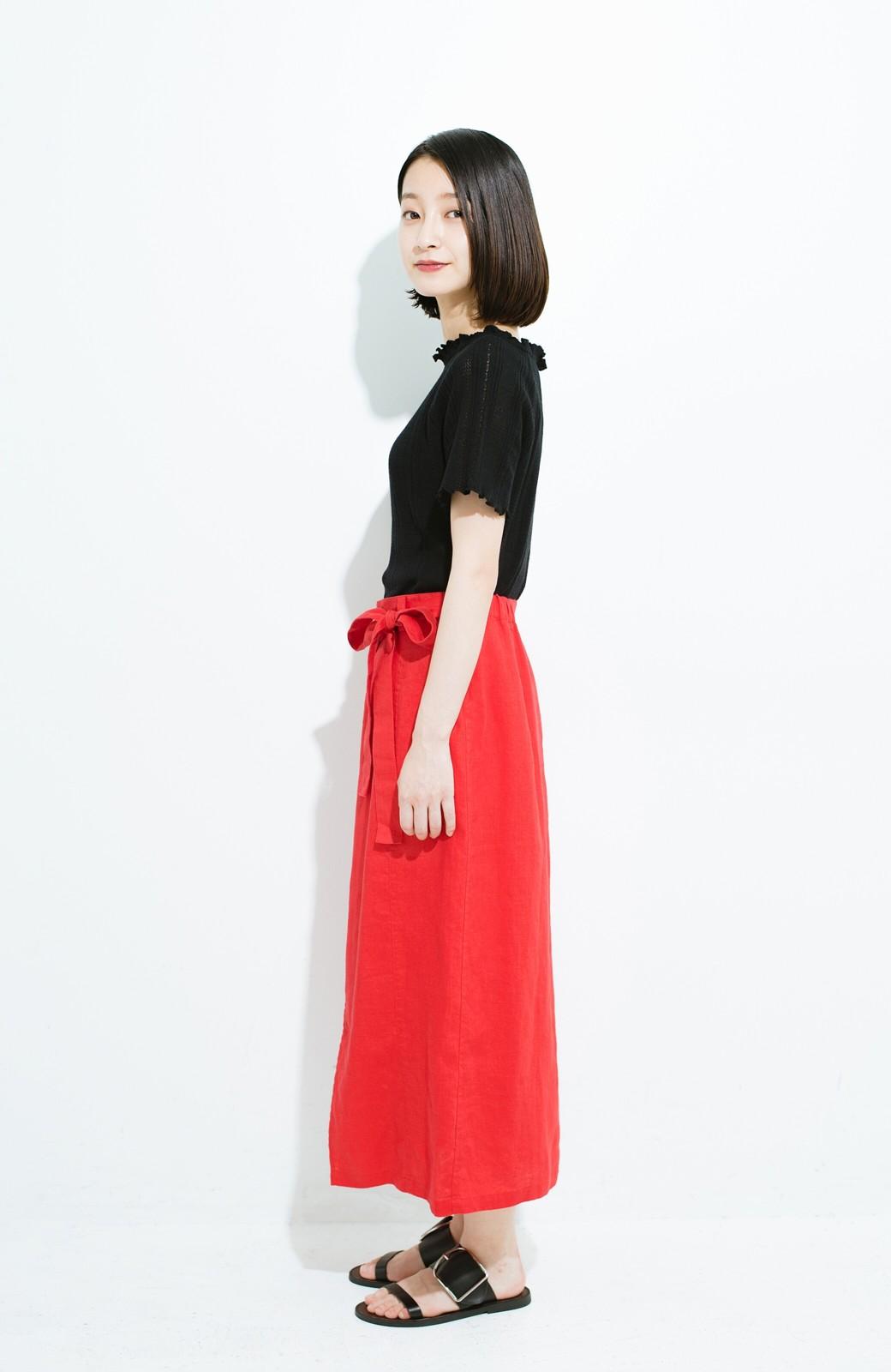 haco! 縦ラインですっきり見える 麻100%のタイトスカート <ピンク>の商品写真9