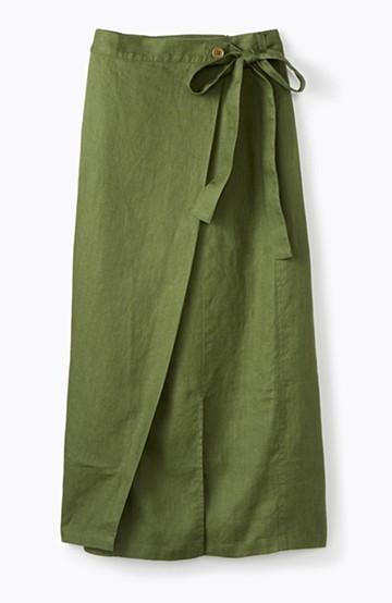 haco! 縦ラインですっきり見える 麻100%のタイトスカート <グリーン>の商品写真