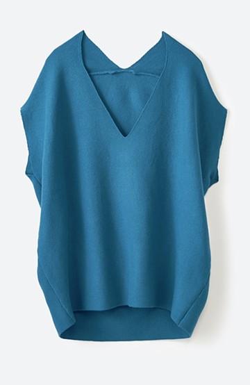 haco! カンタンきれいに女っぽい ゆるシルエットのVネックニット <ブルー>の商品写真