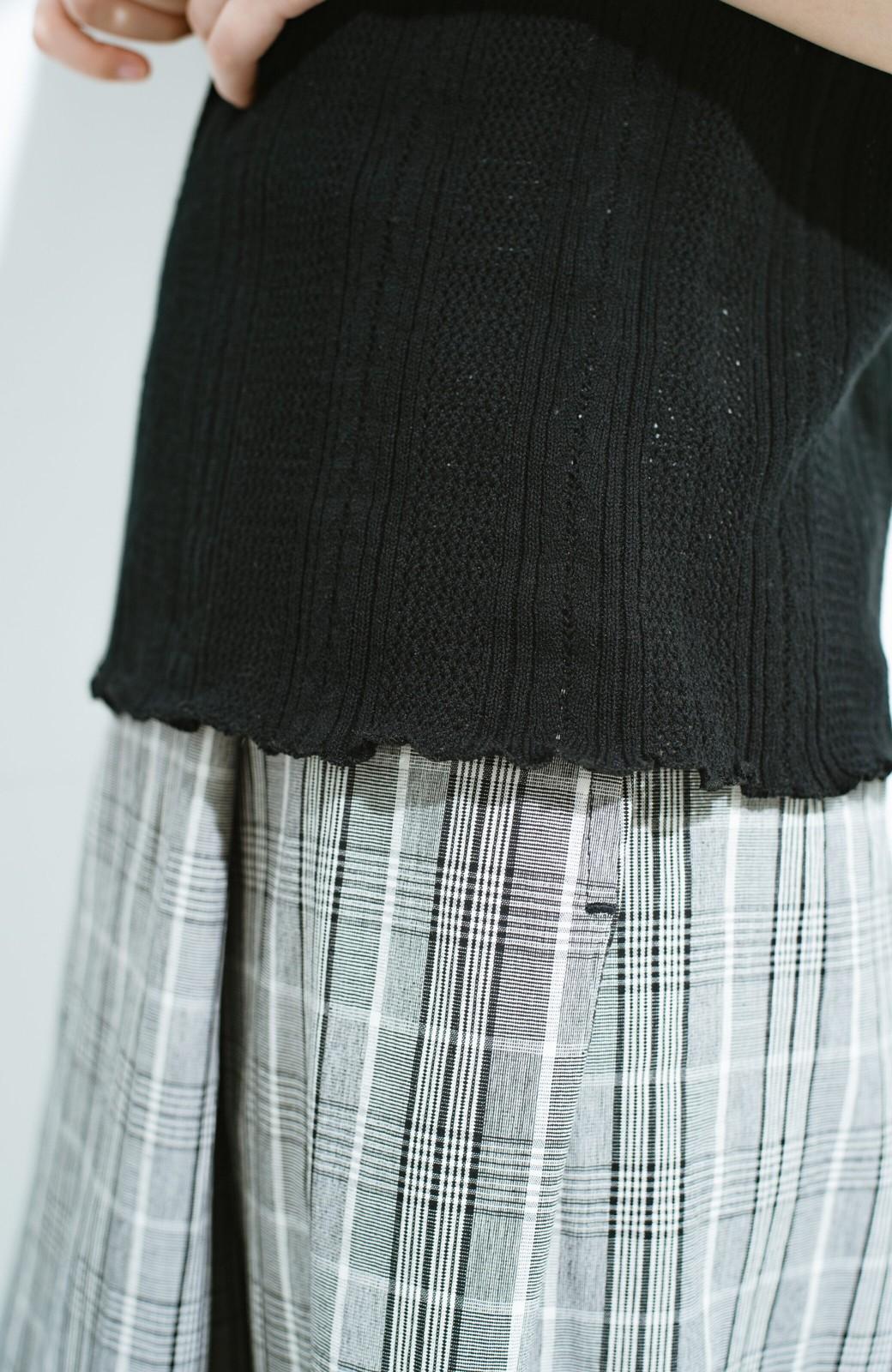 haco! スカートにもパンツにも合う ぴったりめがかわいい透かし柄ニット <ブラック>の商品写真6
