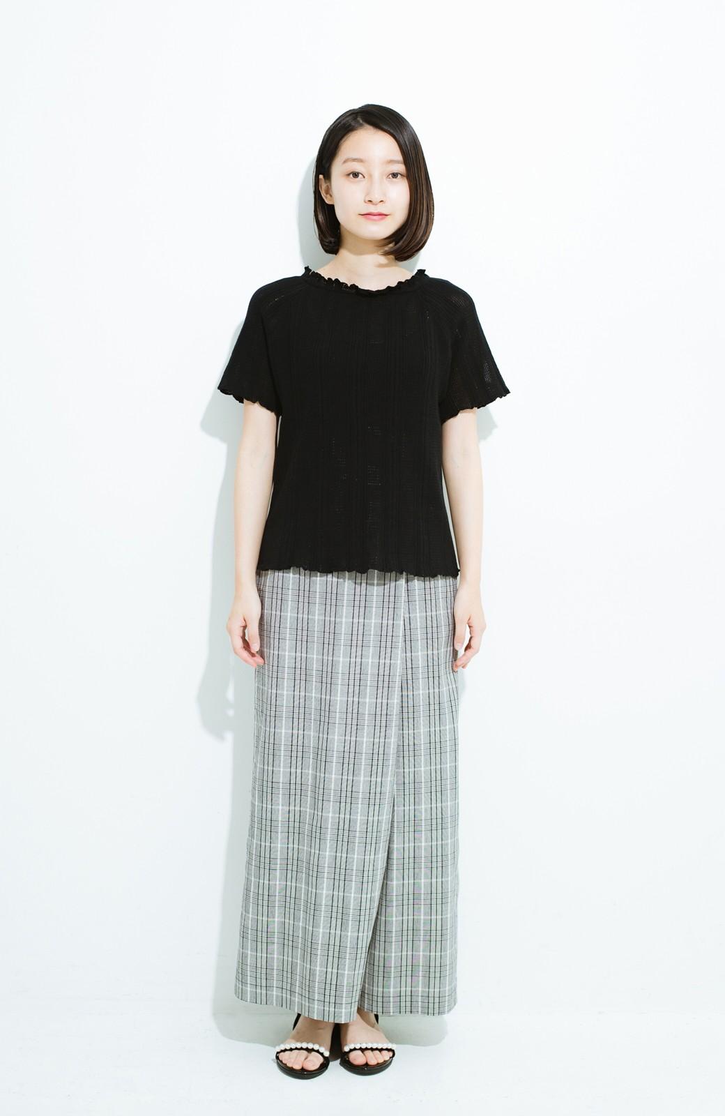haco! スカートにもパンツにも合う ぴったりめがかわいい透かし柄ニット <ブラック>の商品写真7