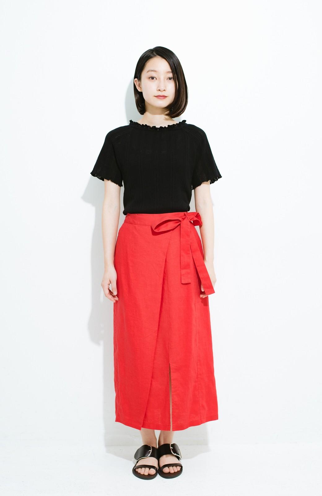 haco! スカートにもパンツにも合う ぴったりめがかわいい透かし柄ニット <ブラック>の商品写真8