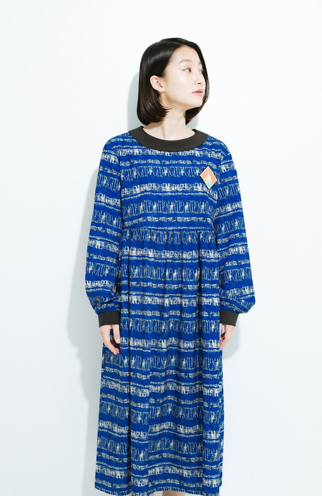 haco! 画家 入谷葉子さんと作った おすましワンピースとブローチのセット <ブルー系その他>の商品写真13