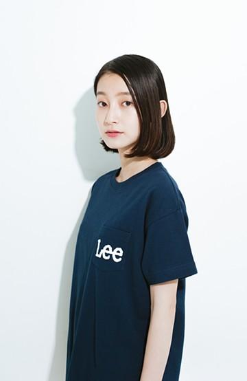 haco! Lady Lee ポケットロゴクルーネックT  <ネイビー>の商品写真