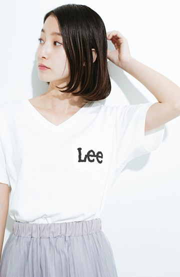 haco! Lady Lee ポケットロゴVネックT  <ホワイト>の商品写真