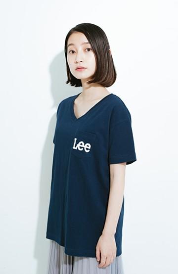 haco! Lady Lee ポケットロゴVネックT  <ネイビー>の商品写真
