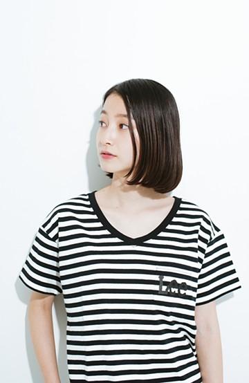haco! Lady Lee ポケットロゴVネックT  <ブラック×ホワイト>の商品写真