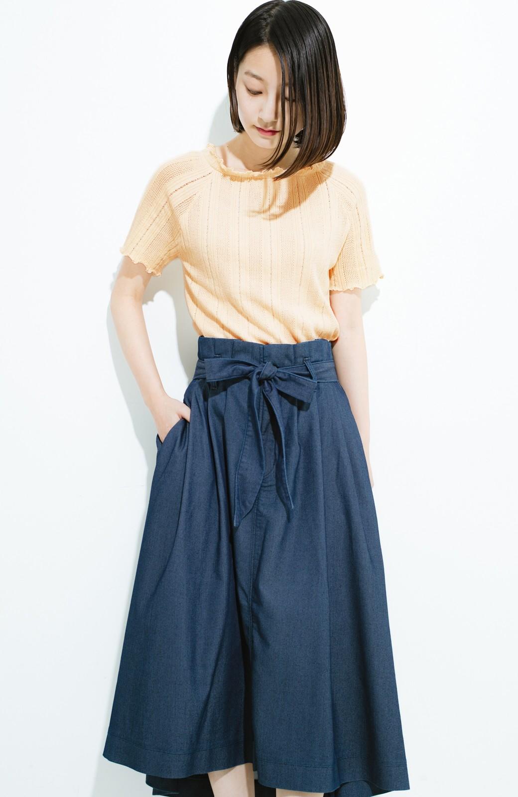haco! スカートにもパンツにも合う ぴったりめがかわいい透かし柄ニット <アイボリー>の商品写真11