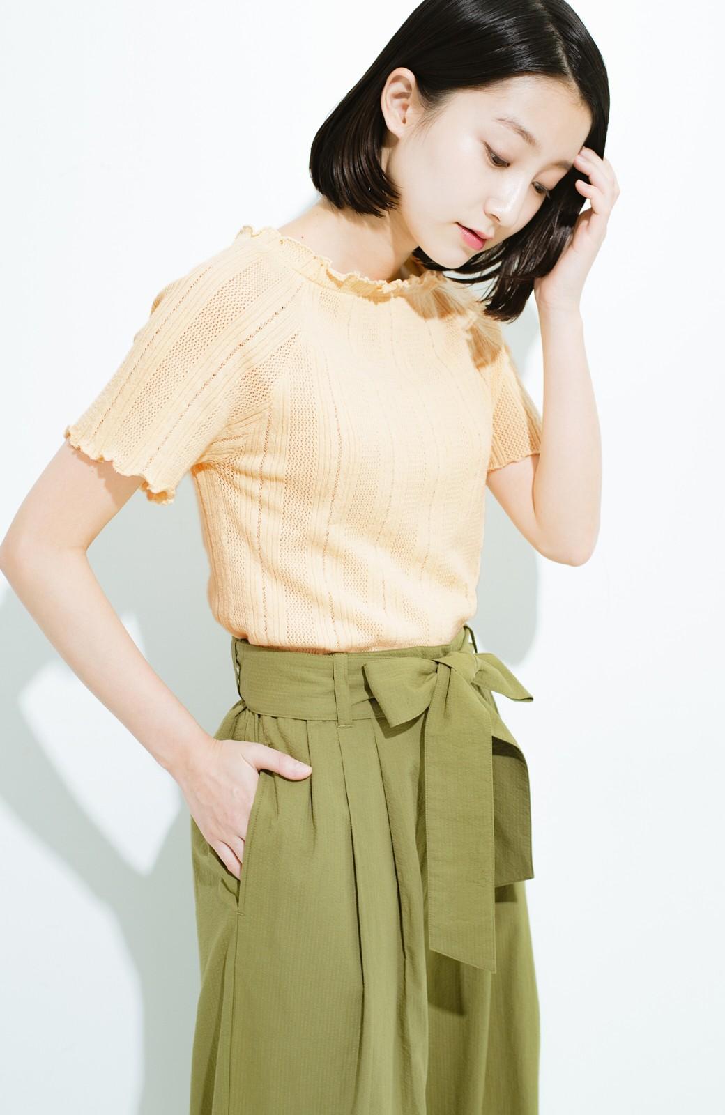 haco! スカートにもパンツにも合う ぴったりめがかわいい透かし柄ニット <アイボリー>の商品写真1