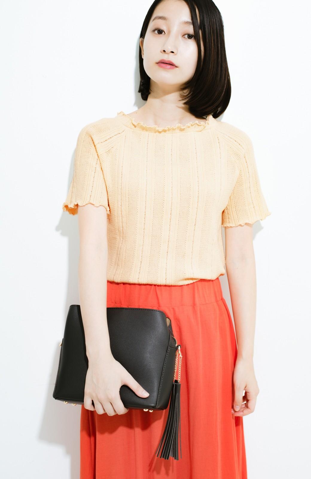haco! スカートにもパンツにも合う ぴったりめがかわいい透かし柄ニット <アイボリー>の商品写真5