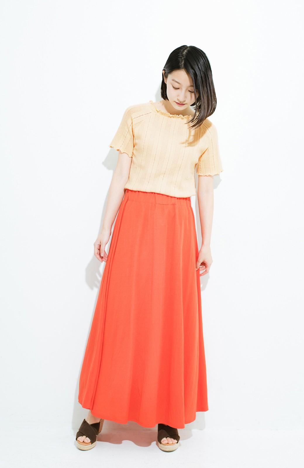 haco! スカートにもパンツにも合う ぴったりめがかわいい透かし柄ニット <アイボリー>の商品写真10