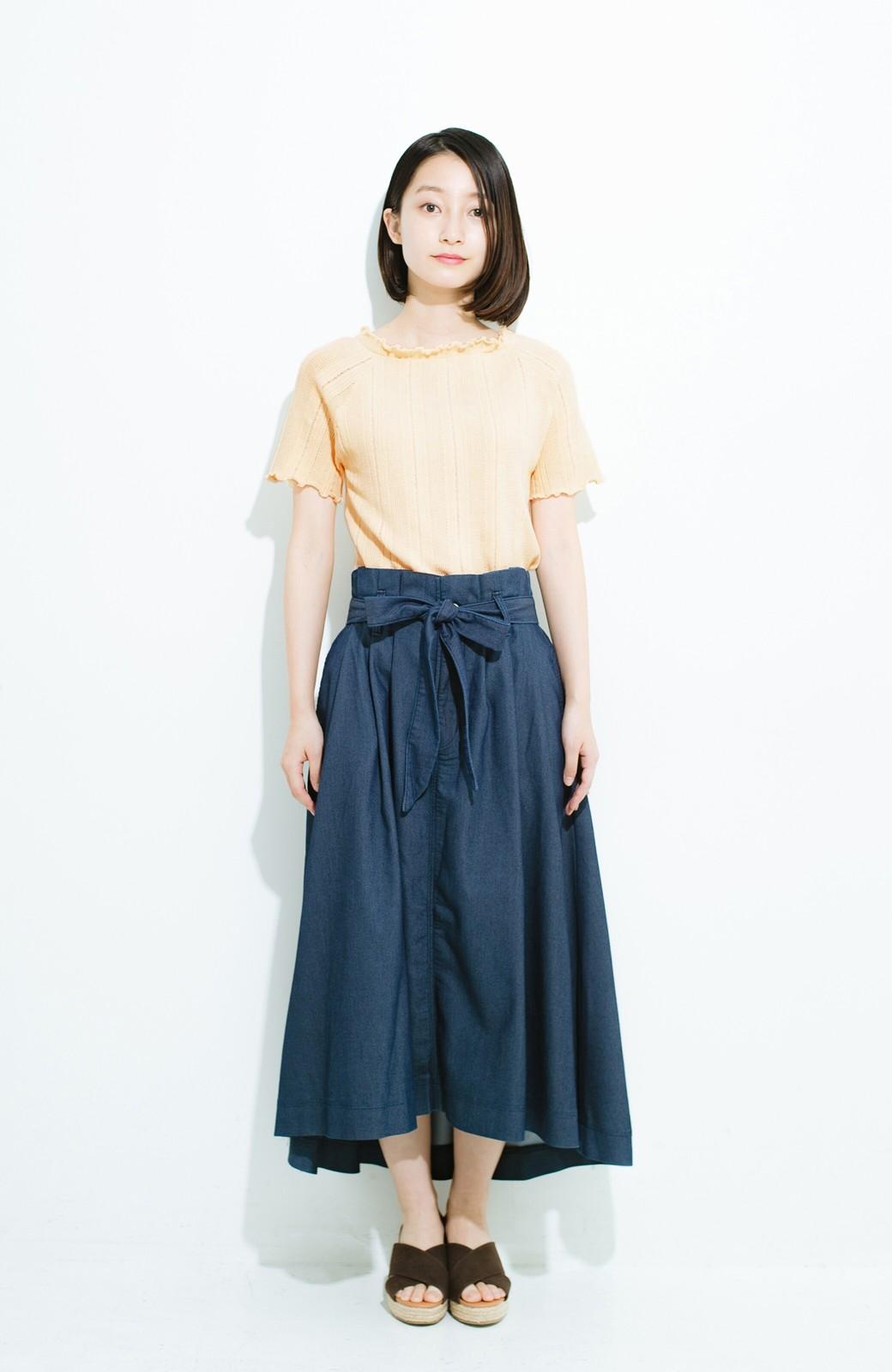 haco! スカートにもパンツにも合う ぴったりめがかわいい透かし柄ニット <アイボリー>の商品写真9