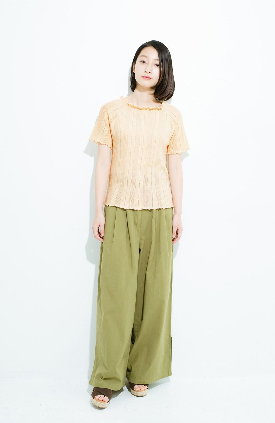 haco! スカートにもパンツにも合う ぴったりめがかわいい透かし柄ニット <アイボリー>の商品写真12