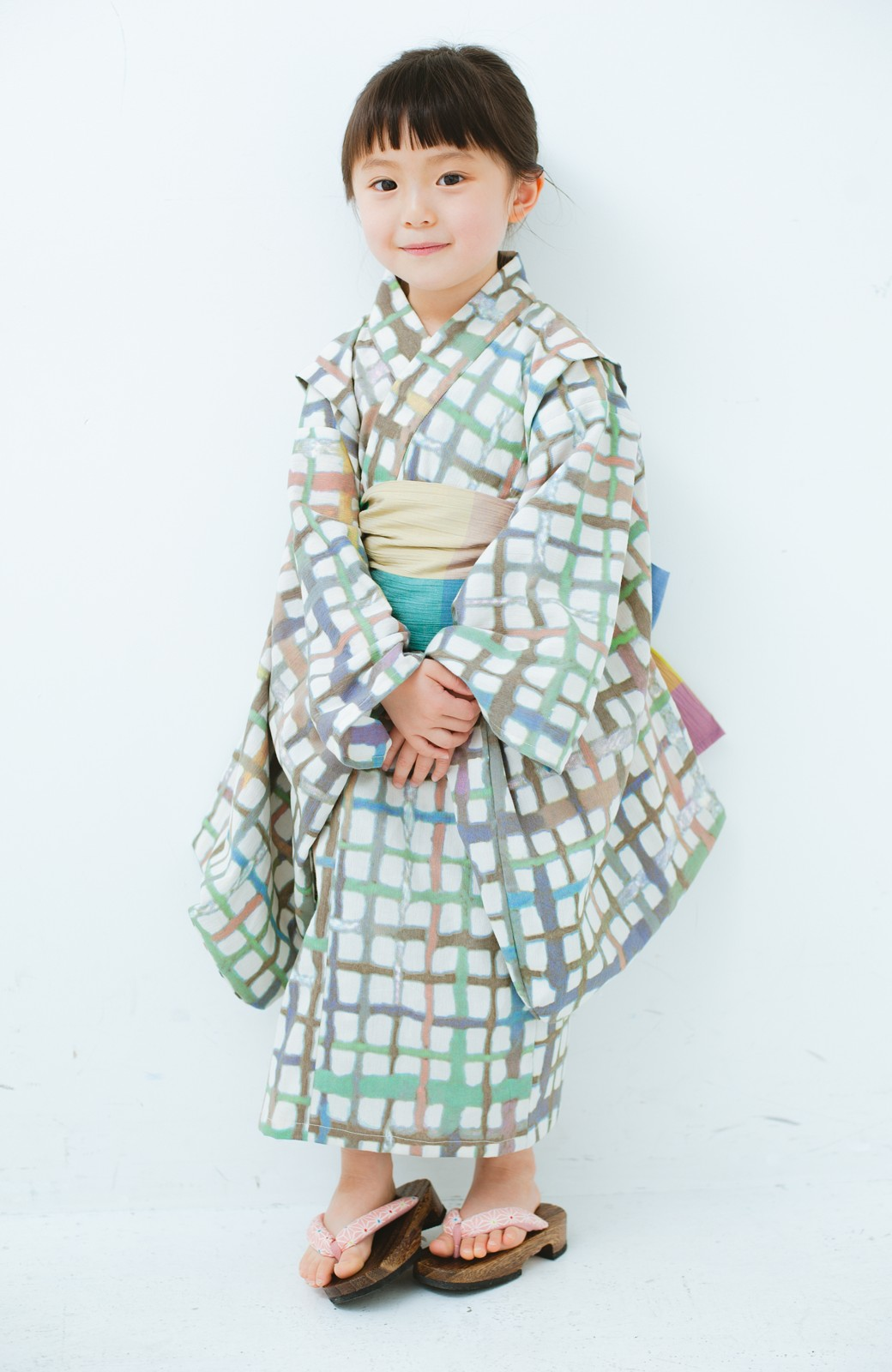 haco! ひでや工房 京都の綿ちりめん子ども浴衣 <ベージュ系その他>の商品写真1