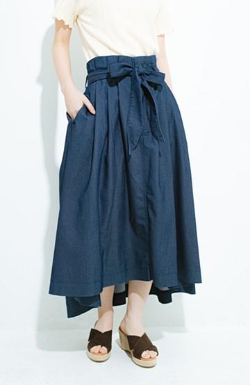 haco! Lady Lee ウエストリボンのペーパーバッグスカート <インディゴブルー>の商品写真