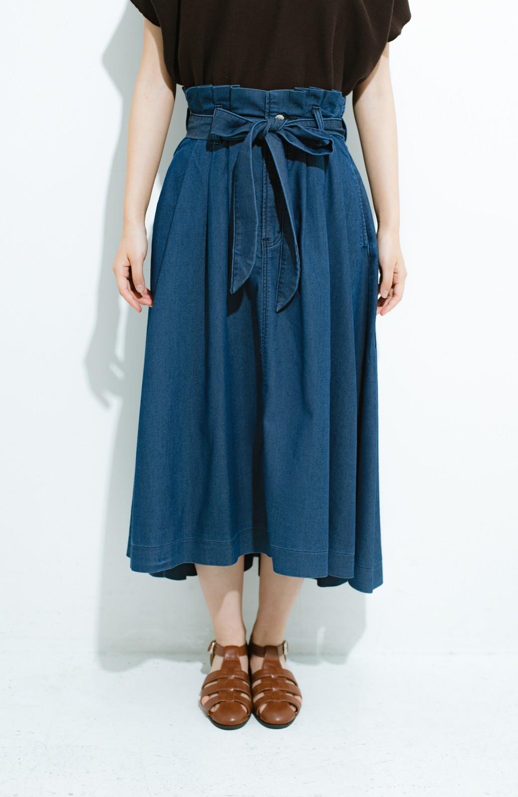 haco! Lady Lee ウエストリボンのペーパーバッグスカート <ブルー>の商品写真2