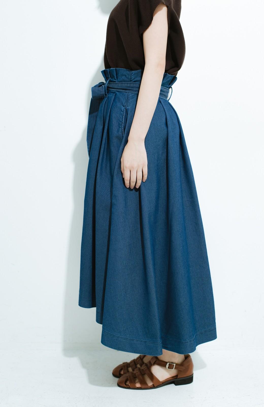 haco! Lady Lee ウエストリボンのペーパーバッグスカート <ブルー>の商品写真3
