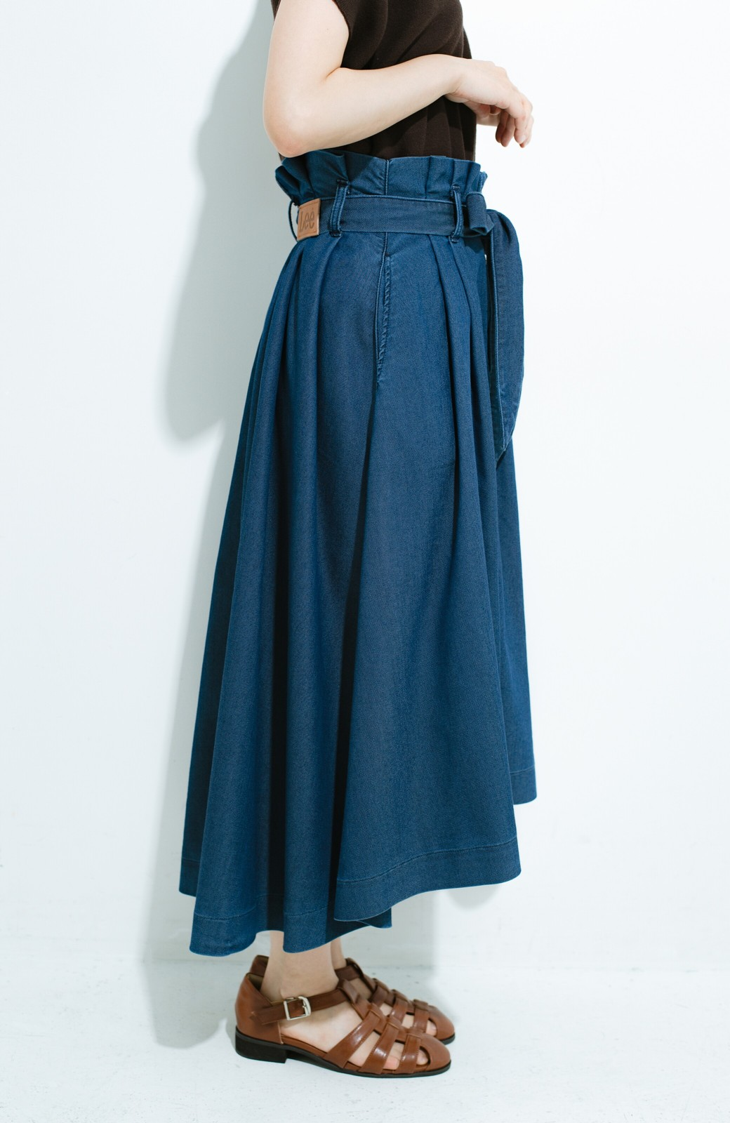 haco! Lady Lee ウエストリボンのペーパーバッグスカート <ブルー>の商品写真5