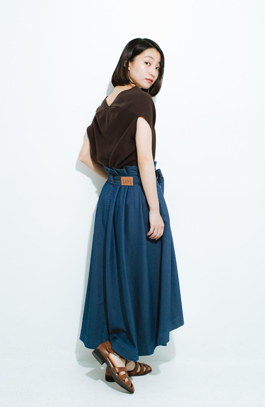 haco! Lady Lee ウエストリボンのペーパーバッグスカート <ブルー>の商品写真11