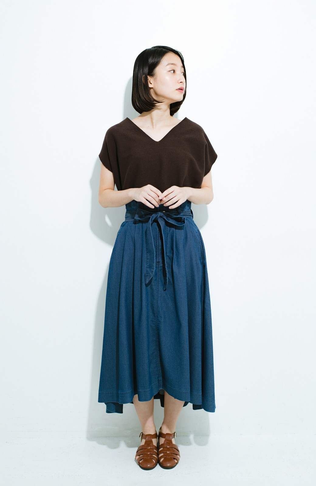 haco! Lady Lee ウエストリボンのペーパーバッグスカート <ブルー>の商品写真9