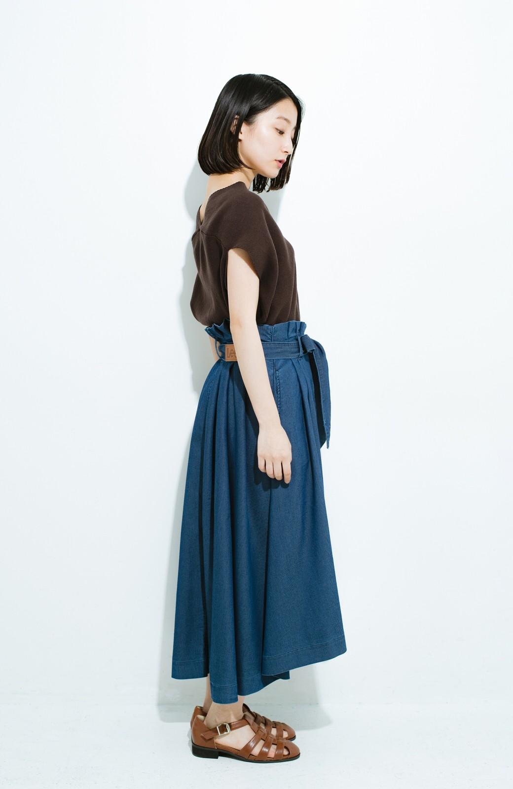 haco! Lady Lee ウエストリボンのペーパーバッグスカート <ブルー>の商品写真10