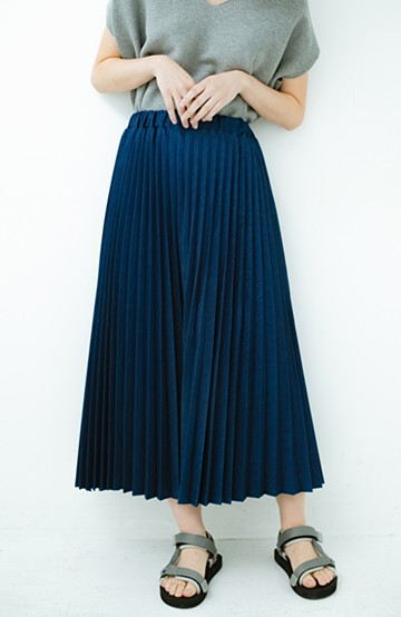 haco! Urvin プリーツデニムスカート <ブルー>の商品写真