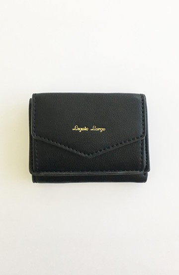 haco! Legato Largo シュリンクフェイクレザー三つ折りミニ財布 <ブラック>の商品写真