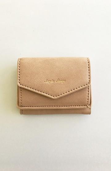 haco! Legato Largo シュリンクフェイクレザー三つ折りミニ財布 <ピンクベージュ>の商品写真