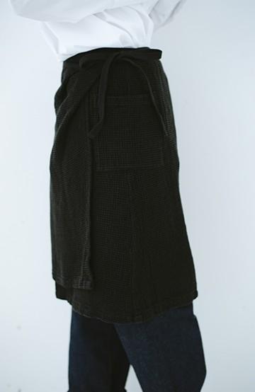 haco! コルトレイクリネン ラップスカートエプロン <ブラック>の商品写真