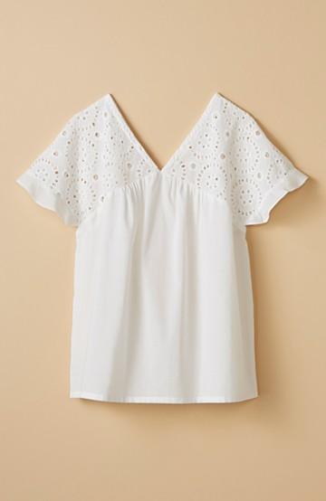 haco! Tシャツばかりじゃなくてオシャレしたいときの大人のレースブラウス by que made me <ホワイト>の商品写真