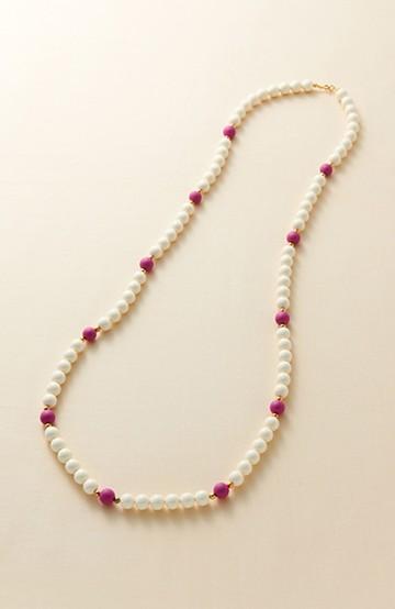 haco! ときどきピンクがかわいいネックレス <ホワイト×ピンク>の商品写真