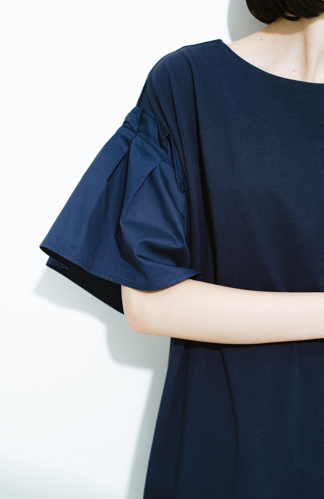 haco! 1枚でパッと完成! 袖異素材カットソーワンピース <ネイビー>の商品写真3