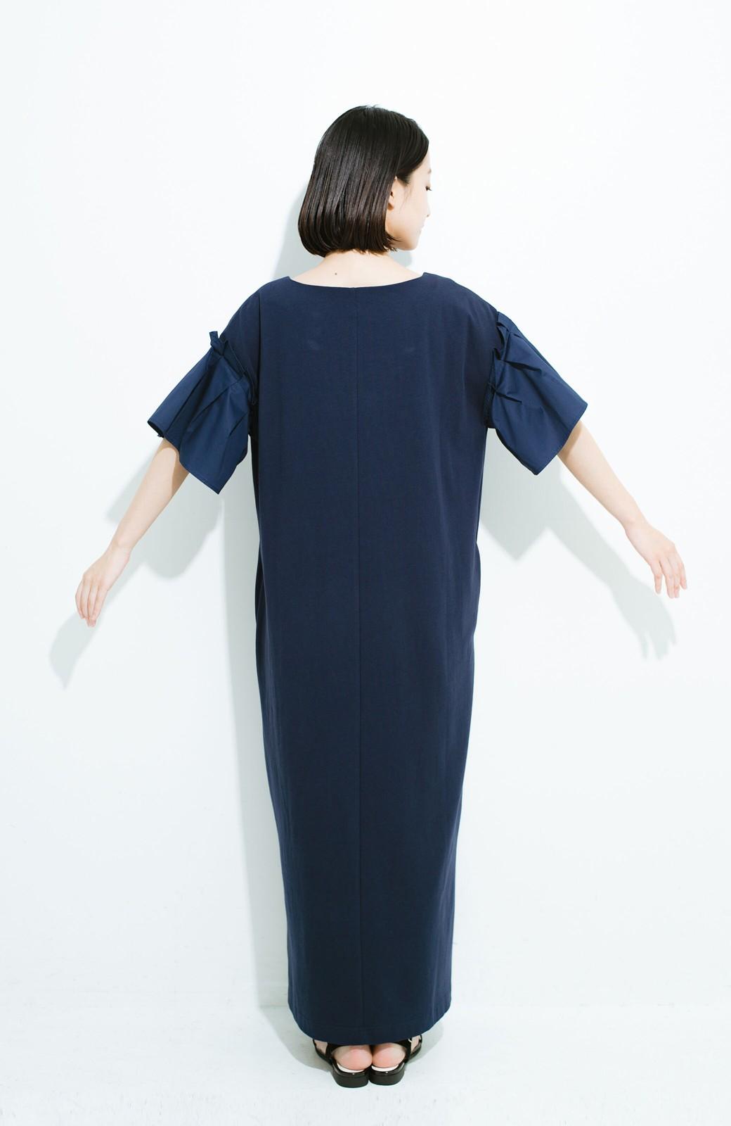 haco! 1枚でパッと完成! 袖異素材カットソーワンピース <ネイビー>の商品写真9