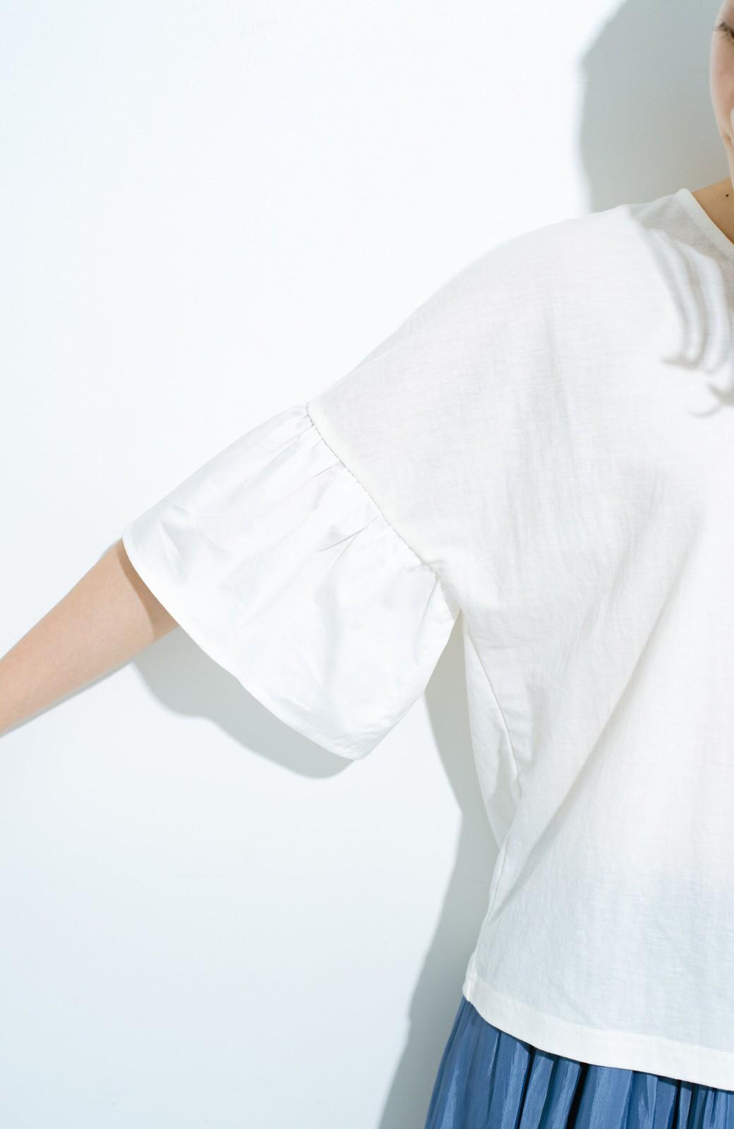 haco! パッと着て華のある フレアースリーブカットソートップス <オフホワイト>の商品写真2