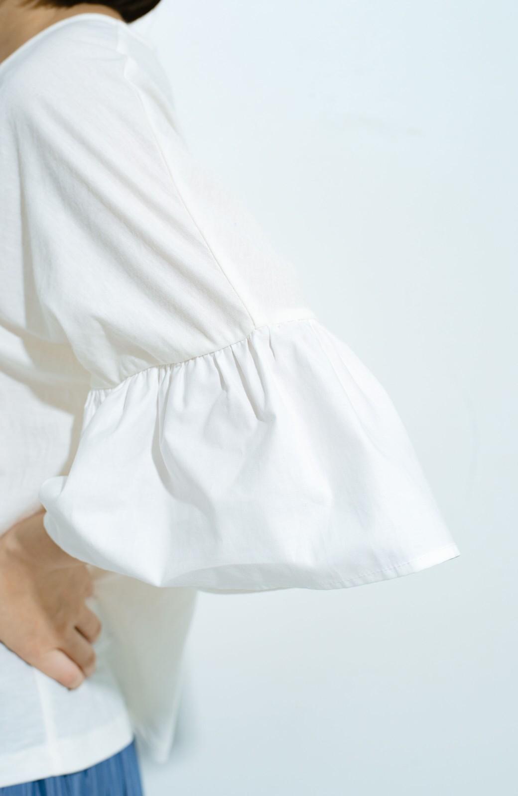 haco! パッと着て華のある フレアースリーブカットソートップス <オフホワイト>の商品写真3