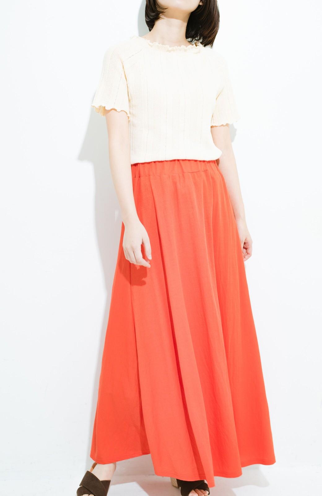 haco! 楽ちん便利な きれいめカットソーマキシスカート <オレンジ>の商品写真4