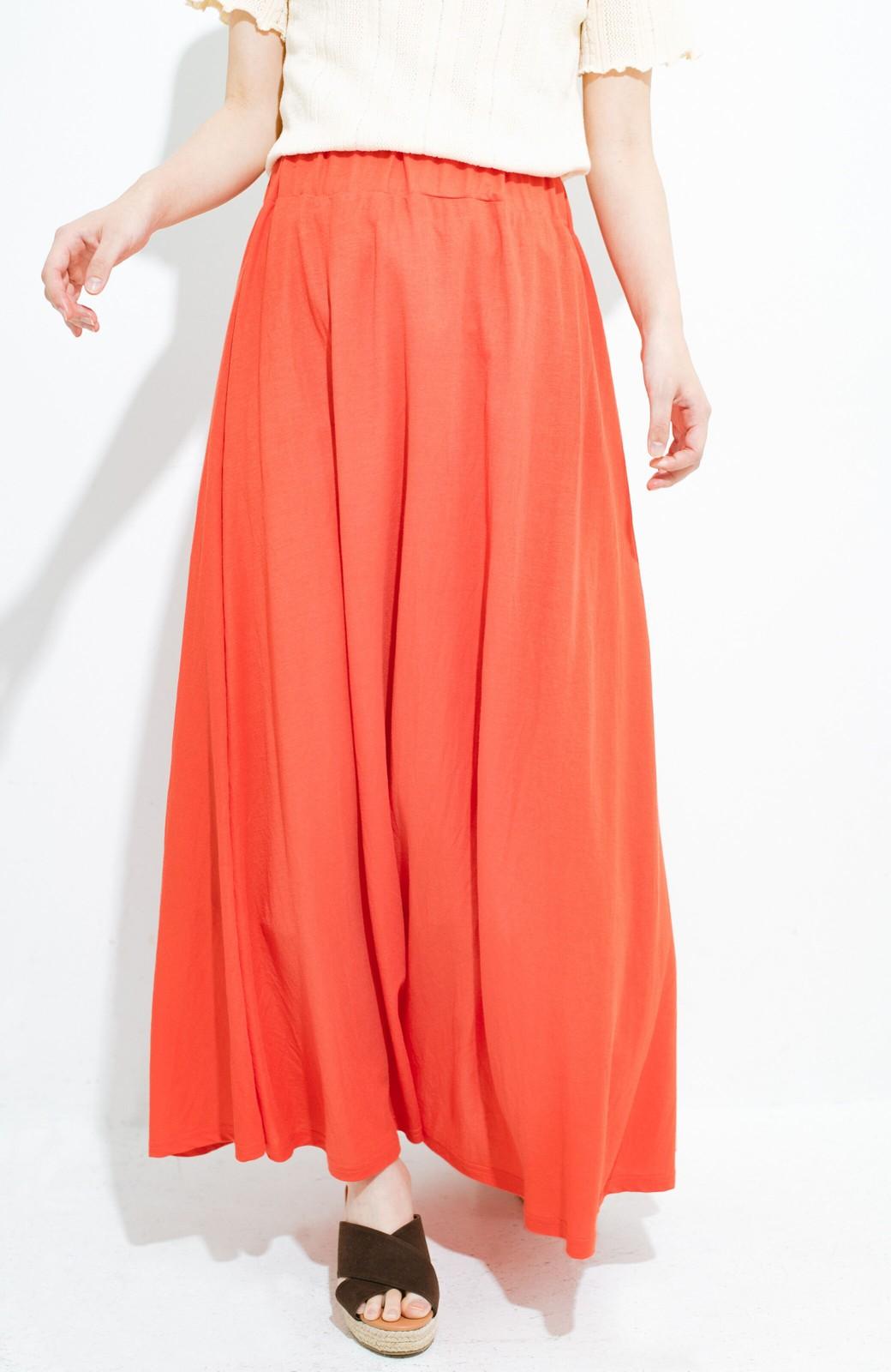 haco! 楽ちん便利な きれいめカットソーマキシスカート <オレンジ>の商品写真1