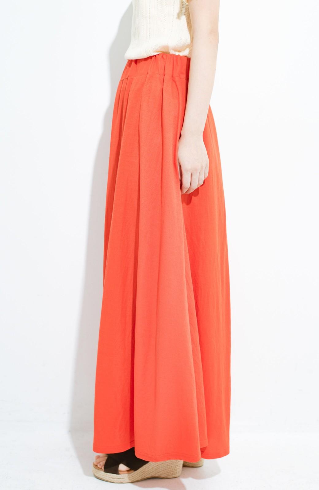 haco! 楽ちん便利な きれいめカットソーマキシスカート <オレンジ>の商品写真5