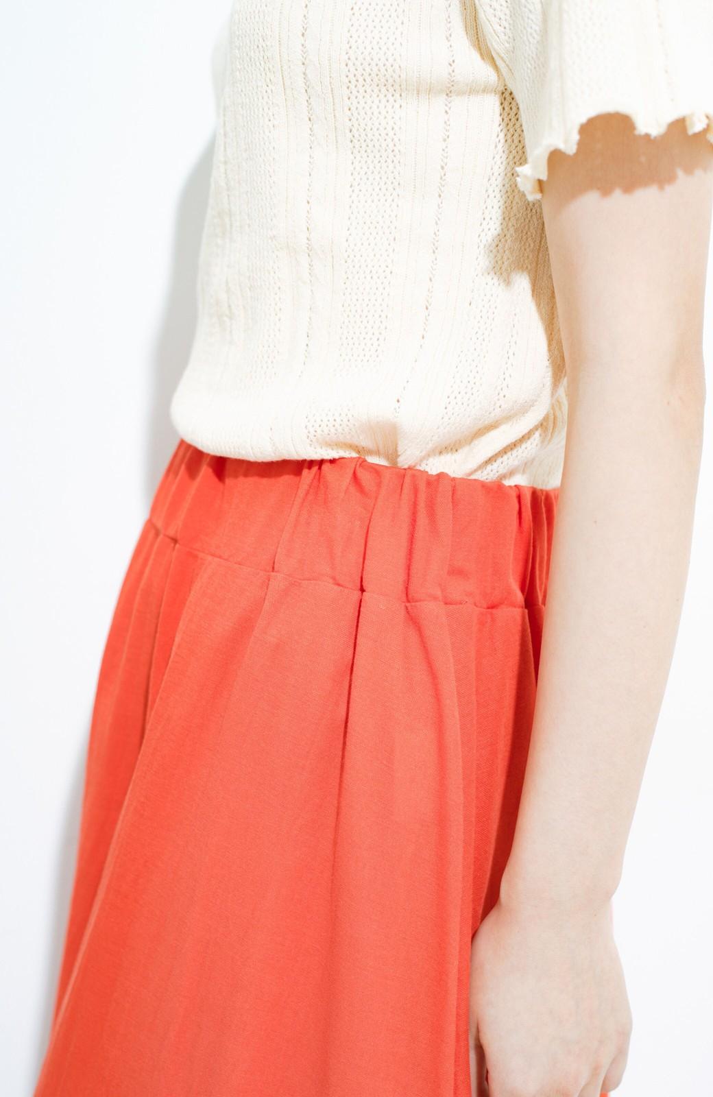 haco! 楽ちん便利な きれいめカットソーマキシスカート <オレンジ>の商品写真6