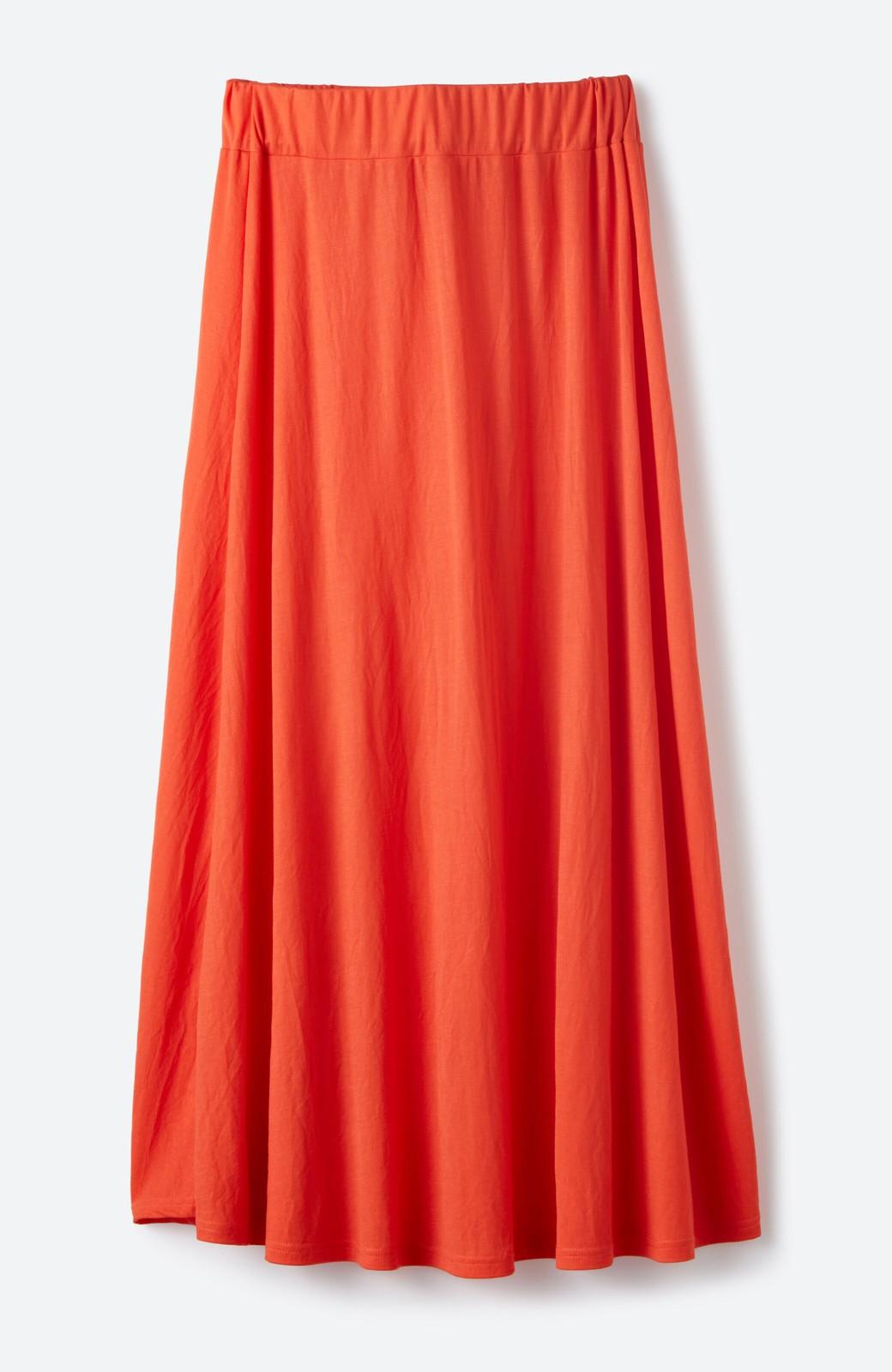 haco! 楽ちん便利な きれいめカットソーマキシスカート <オレンジ>の商品写真2