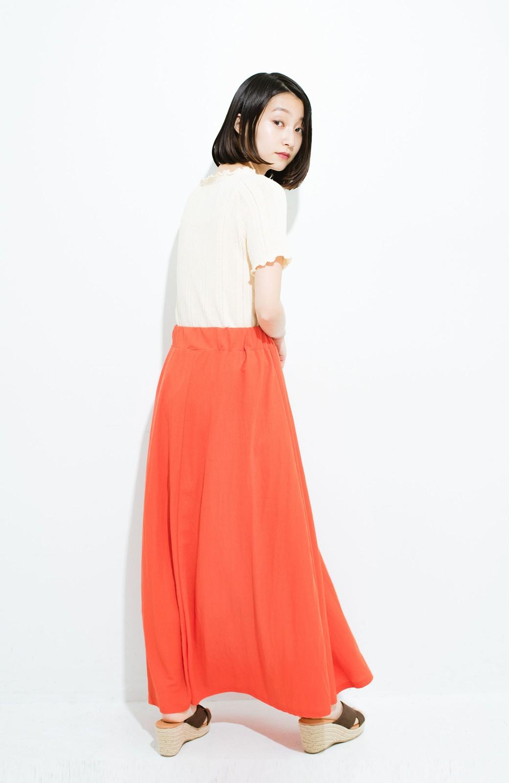 haco! 楽ちん便利な きれいめカットソーマキシスカート <オレンジ>の商品写真12