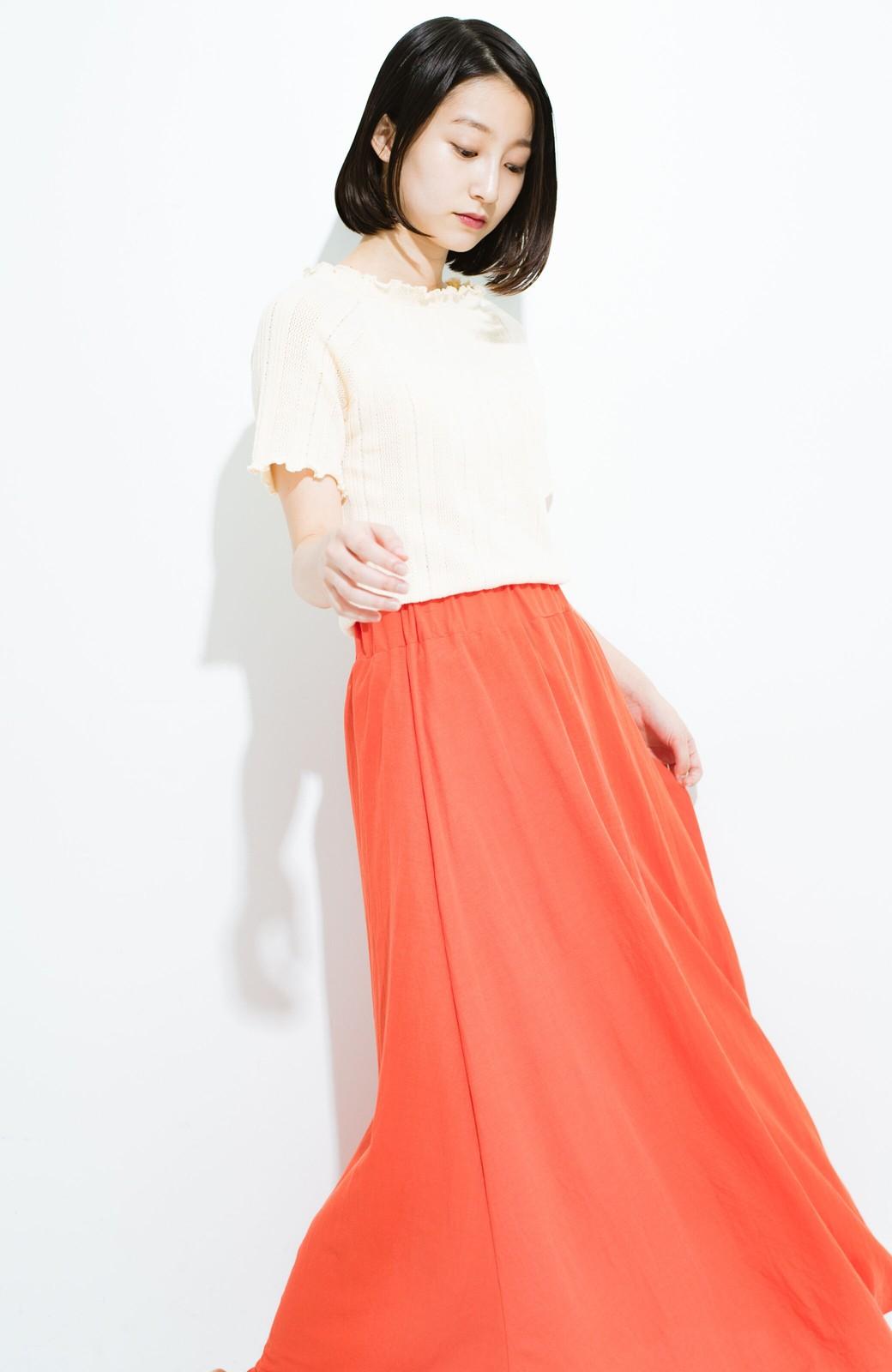 haco! 楽ちん便利な きれいめカットソーマキシスカート <オレンジ>の商品写真13