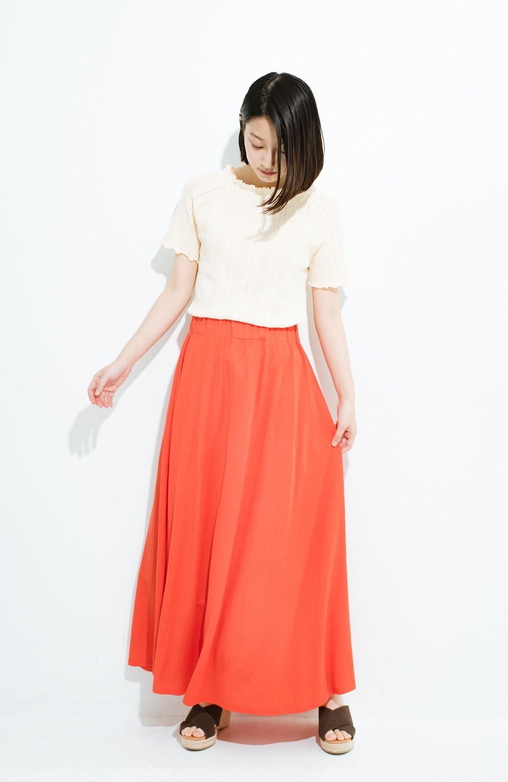 haco! 楽ちん便利な きれいめカットソーマキシスカート <オレンジ>の商品写真8