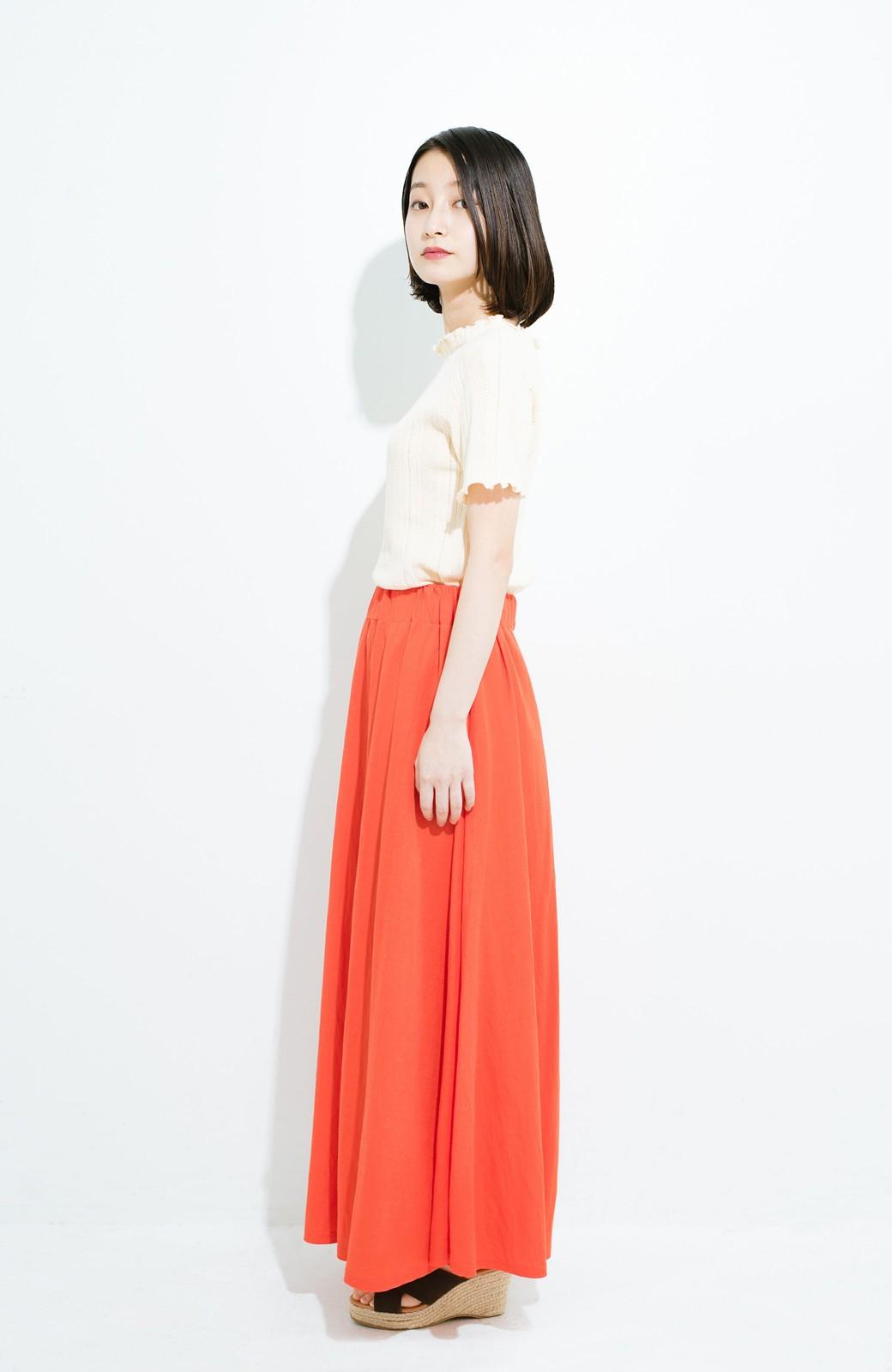 haco! 楽ちん便利な きれいめカットソーマキシスカート <オレンジ>の商品写真9