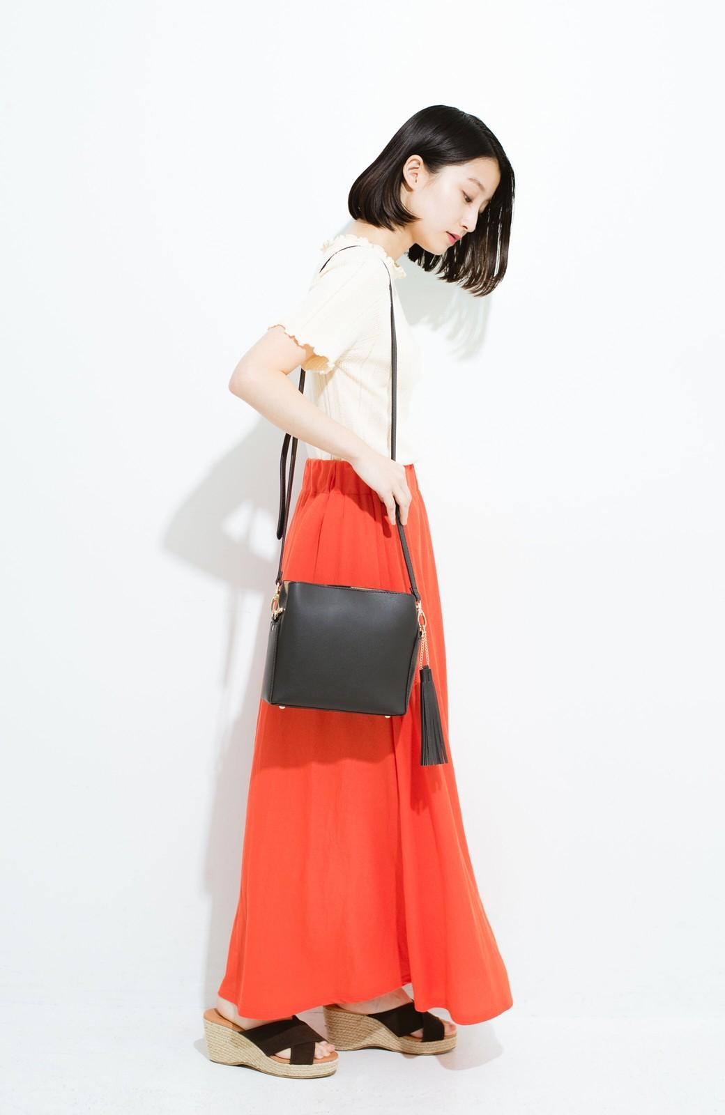 haco! 楽ちん便利な きれいめカットソーマキシスカート <オレンジ>の商品写真10
