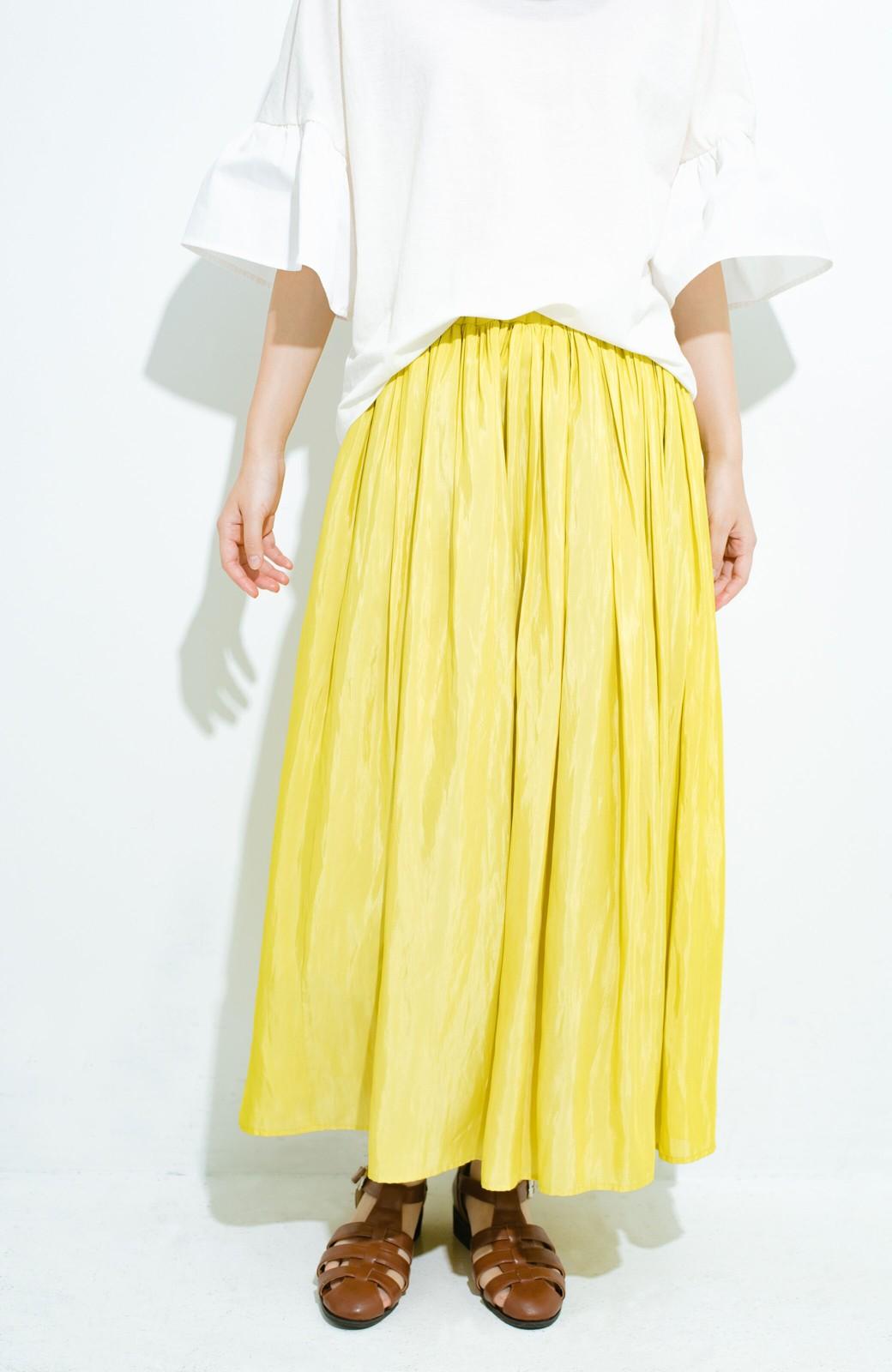 haco! このスカートさえはけば 女っぽくいられるたっぷりギャザースカート by que made me <イエロー>の商品写真3