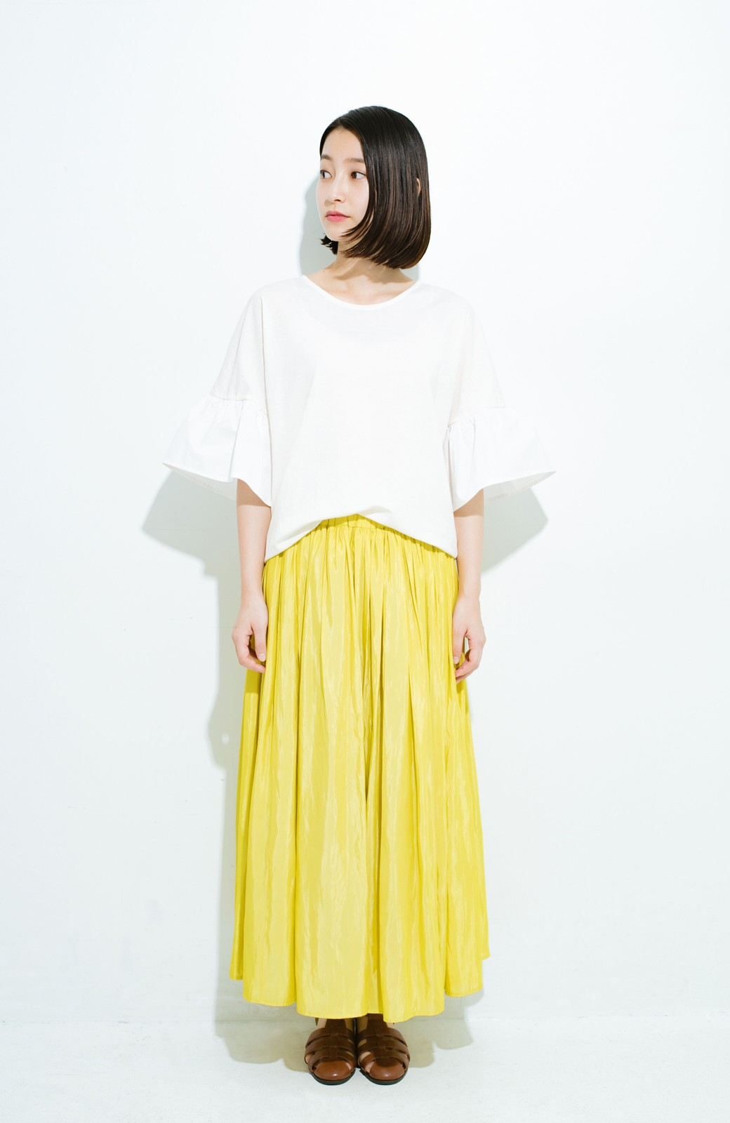 haco! このスカートさえはけば 女っぽくいられるたっぷりギャザースカート by que made me <イエロー>の商品写真8